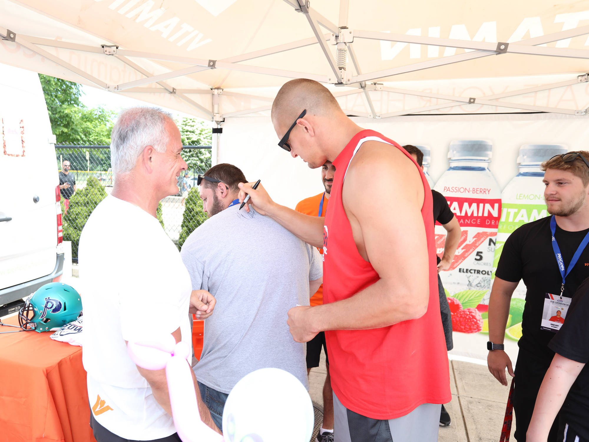 Vitamin 1 sponsor of Gronkowski Football Clinic 14